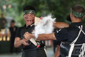 20180329陸軍第6軍團29日舉辦「刺槍競賽」決賽,開賽前進行刺槍術、戰鼓、莒拳等操演,