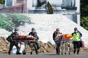 20180330陸軍3支部派遣官兵配合新竹107年民安演習,執行大量傷病患緊急醫療救護操演