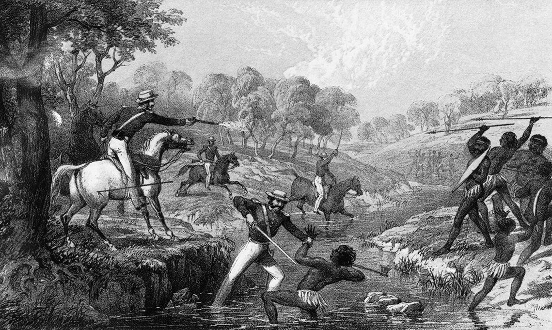 1838年5月1日新南威爾斯的「屠宰場溪大屠殺」(Slaughterhouse Creek massacre)中,,15名重武裝的澳洲牛仔與騎警,就趁著拂曉攻進了當地原民Kamil